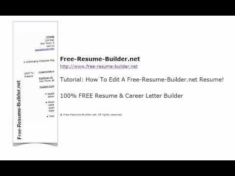 How To Edit Your Resume Using Free-Resume-Buildernet - YouTube