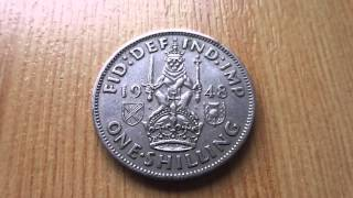One Schilling coin of GB from 1948 in HD