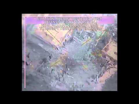 USAF air strike destroys a Da'esh defensive fighting position near Fallujah, Iraq.
