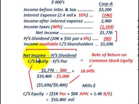 Stockholders Equity (Rate Of Return On Common Stock Equity, C/S Shareholder Profitability)
