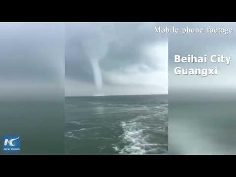 Rare tornado appears on S China sea