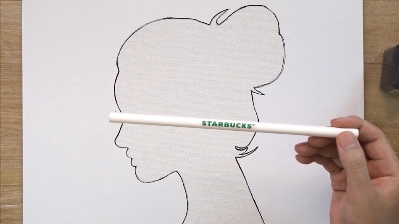 Starbucks Straws Painting Technique / Abstract Art / Label Paper Sticker Painting