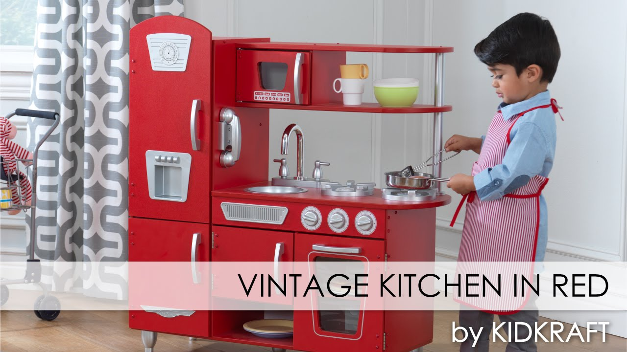 red vintage play kitchen for boys and girls toy review youtube