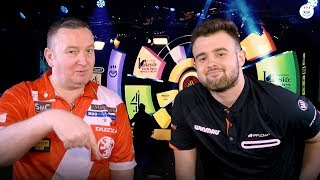 Glen Durrant Smashed the dart board with Corey Cadby before 6-2 win over Scott Waites