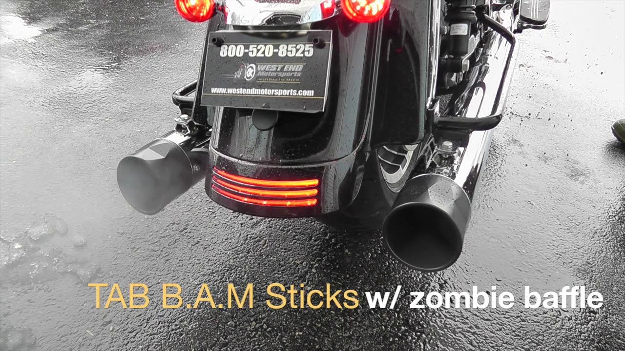 TAB Performance 4 inch BAM Sticks Tip Compatible Slip On Mufflers for  Harley Davidson Touring Models '17-Up - Chrome