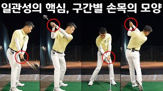 Wrists shapes at the key moments of golf swing
