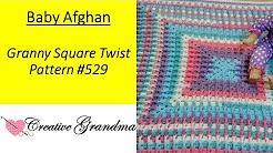 Granny Square Twist Baby Afghan Pattern # 529 Crochet Tutorial