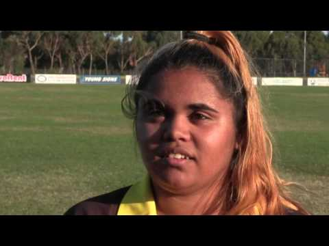 Leticia suits up for Morwell East Women's AFL Team
