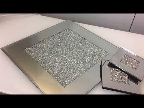 Diamond Glitz Silver Mirrored Place Mats and Coasters