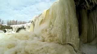 Download Video Jägala waterfall in Estonia on winter. MP3 3GP MP4