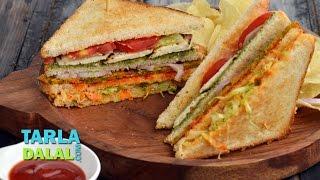 Veg Club Sandwich by Tarla Dalal