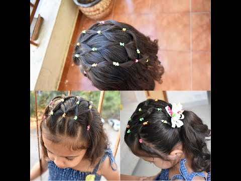 Easy Elastic , Rubber band Hairstyles for girls|Hair net style|Hair mesh style|My Rockstar Daughter