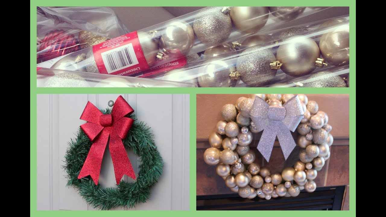 Craftychristmas video one diy ornament wreath and dollar store diy ornament wreath and dollar store wreath youtube solutioingenieria Images