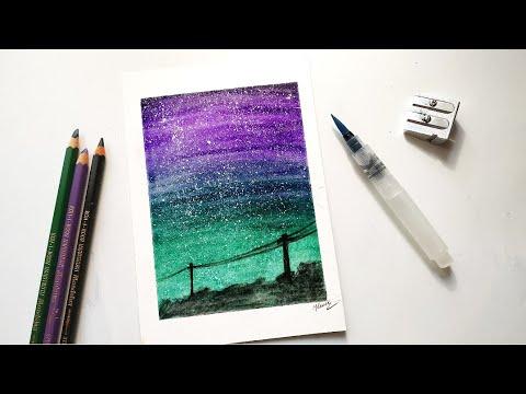 Watercolor pencils galaxy beginners tutorial - YouTube