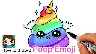 How to Draw a Unicorn Rainbow Poop Emoji Easy