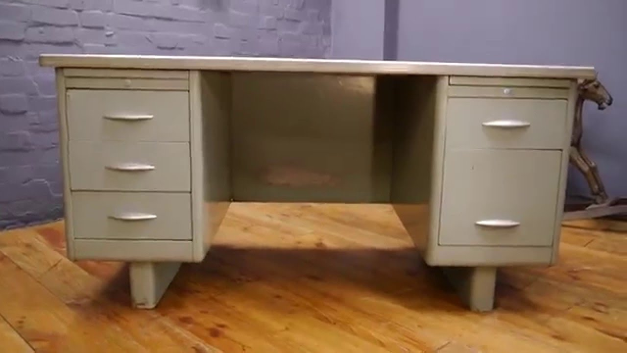 Large 1950s 60s Steel Vintage Grey Metal Tanker Desk You