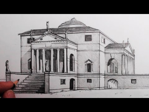 how-to-draw-buildings-in-1-point-perspective:-the-villa-rotonda:-narrated