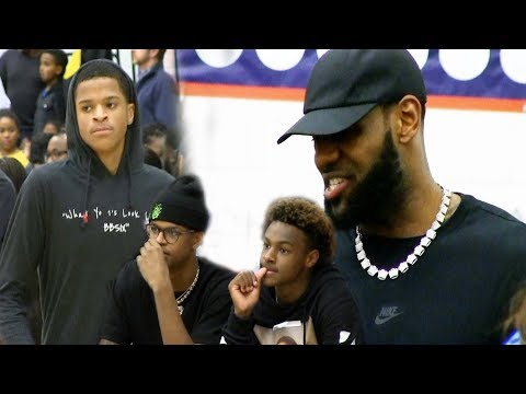 Lebron James Shareef O'Neal and Bronny watch Shaqir O'Neal in Rivalry Game vs Brentwood