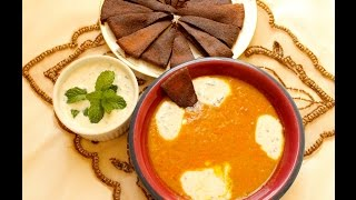 Easy Egyptian Red Lentil Soup With Mint Yogurt Sauce (egyptian/arabic)