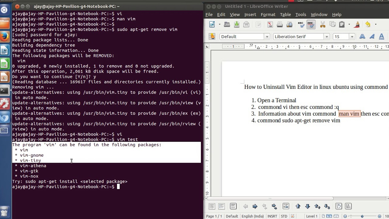 how to install and uninstall vim editor in ubuntu/linux