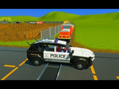 Lego Mall Patrol, Cars, Police SUV's & Vans vs Unstoppable Train - Brick Rigs