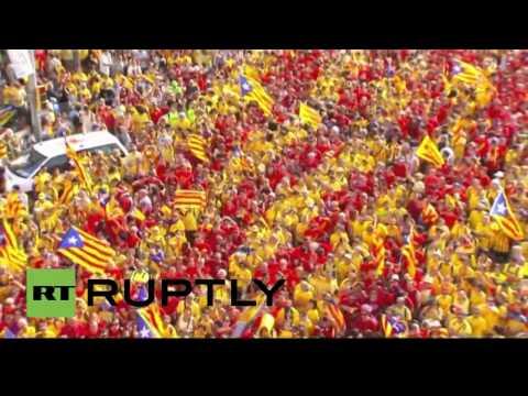 Impresionantes tomas aéreas de la Diada en Barcelona