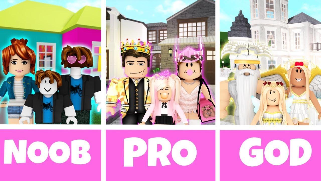 Roblox Noob Vs Pro Vs God Family House In Bloxburg Youtube