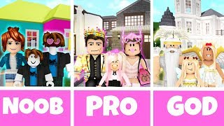 ROBLOX NOOB vs PRO vs GOD FAMILY HOUSE in BLOXBURG