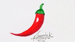 Como Desenhar PIMENTA (Fácil) | Amanda Karla