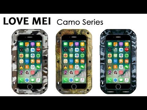 promo code b91a9 22fbd LOVEMEI Camo Aluminum Metal Bumper + Tempered Glass Screen Waterproof Case  Cover