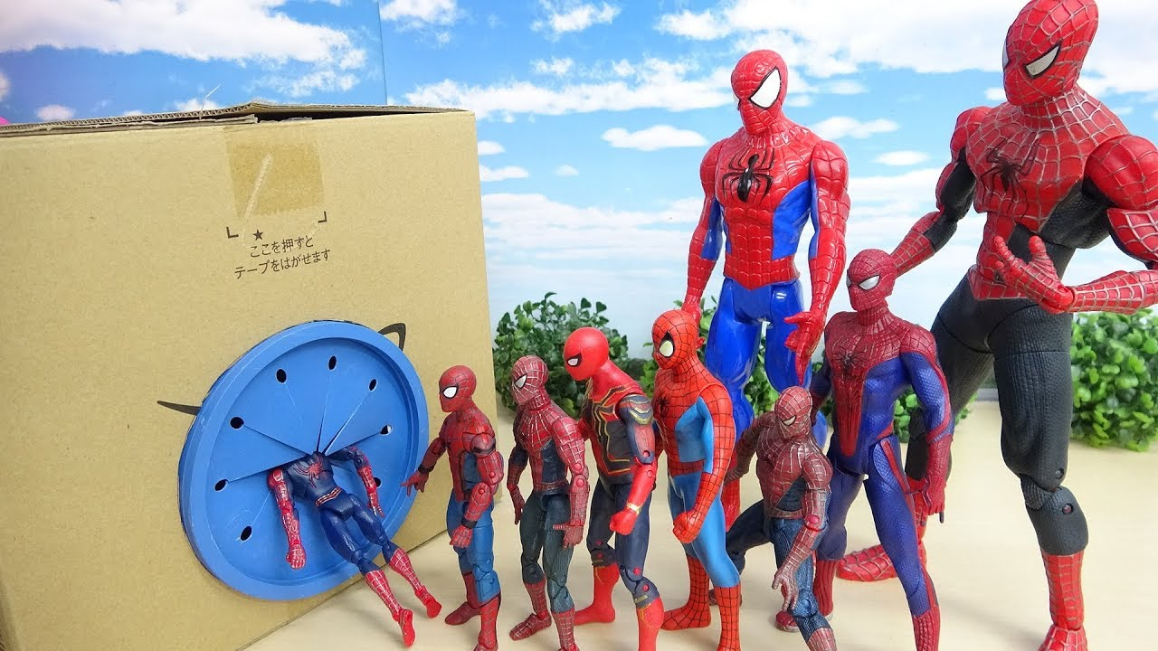 Download Various Size of Spiderman Go into the Box! Fight against a enemy