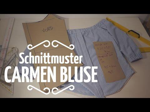 Schulterfreie Bluse mit versteckter Knopfleiste // Schnittmuster selber machen