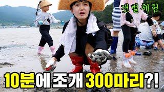 조개 300마리잡아 라면 끓여먹기 갯벌체험 거제 바다로…