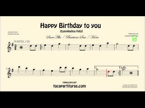 Happy Birthday Sheet Music for Alto Saxophone Baritone Saxophone and Horn