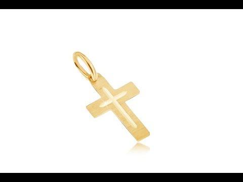 a1d05e932 Šperky - Prívesok v žltom 14K zlate - plochý saténový latinský kríž,  gravírovaý