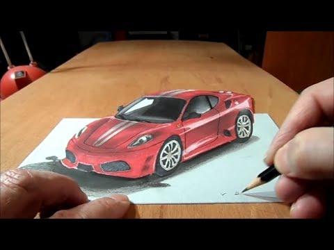 How to Draw 3D car,  Drawing Ferrari Car, 3D Trick Art Graphic