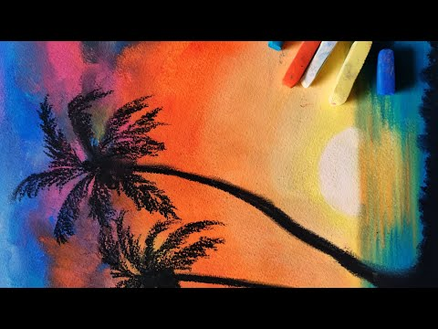 Beach landscape painting using soft pastels | easy | anyone can paint | for beginners