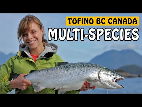 COHO SALMON, LINGCOD, ROCKFISH! So Many Species In Tofino Vancouver Island BC! | Fishing With Rod
