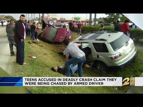 Teens accused in deadly crash claim they were being chased by armed driver