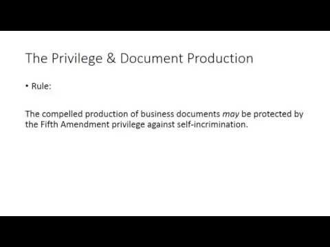 Module III: Defenses and Privileges: The Fifth Amendment Privilege & Document Production/Immunity