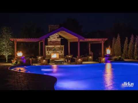 Resort-Style Outdoor Space | Pool and Patio Landscape Lighting Design - Omaha Nebraska