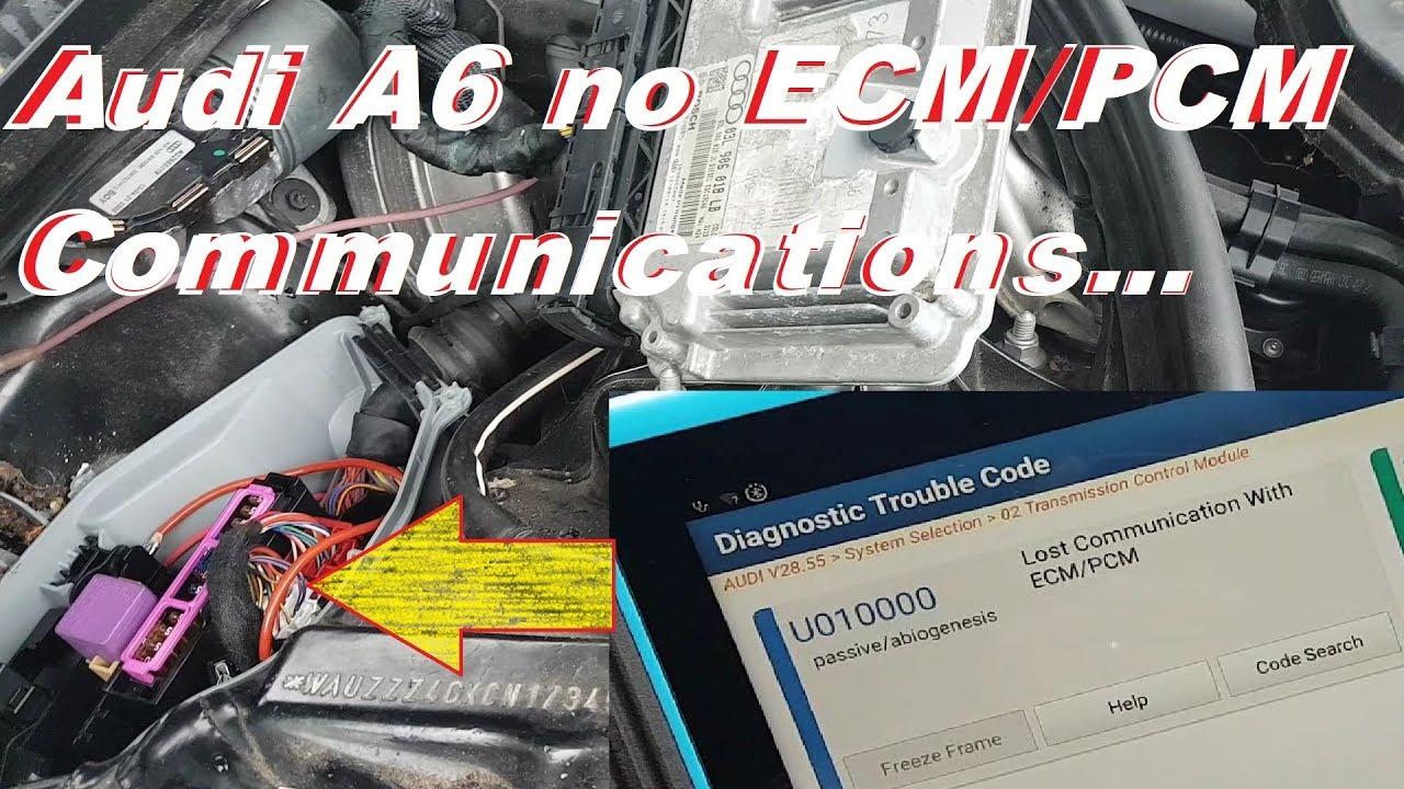 Audi A6 TDI 2012 no ECM/PCM communications. No crank no start. Fault finding and repair.