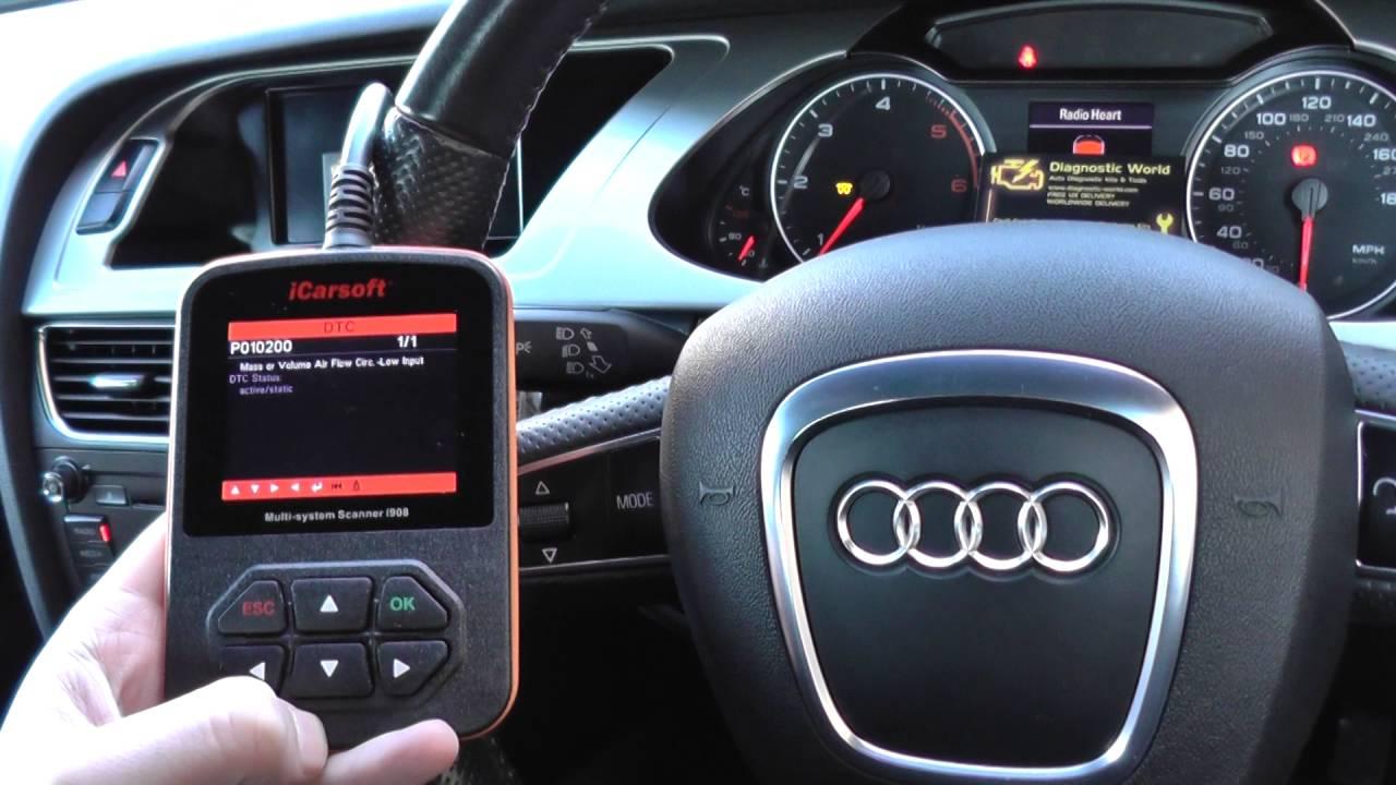 Audi A4 B8 Engine Fault Flashing Glowplugs iCarsoft i908 Diagnose