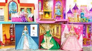 Barbie Dresses up New Party Dresses with Elsa Rapunzel Gaun Boneka Barbie Boneca Barbie Vestidos