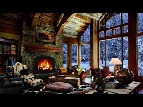 Relaxing Sounds Relaxing Atmosphere Winter Wonderland  Beautiful Snow With Fireplace Crackling  -