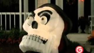 Animated Airblown Skull With Moving Eyes And Jaw Inflatable Halloween Yard Decoration