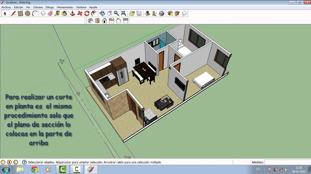 Como hacer corte o secci n de planos en sketchup youtube for Hacer planos 3d