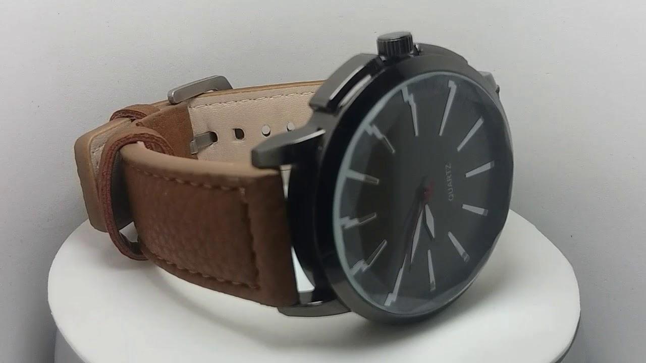 924e0093f2 Relógio Masculino Quartz Esportivo Pulseira De Couro - YouTube