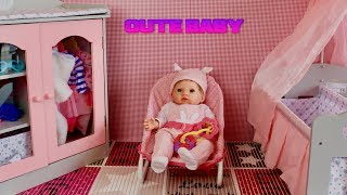 Pretend play with Tiny Treasure Baby & Baby Annabell -Baby Dolls Care Routine with Nursery Toys