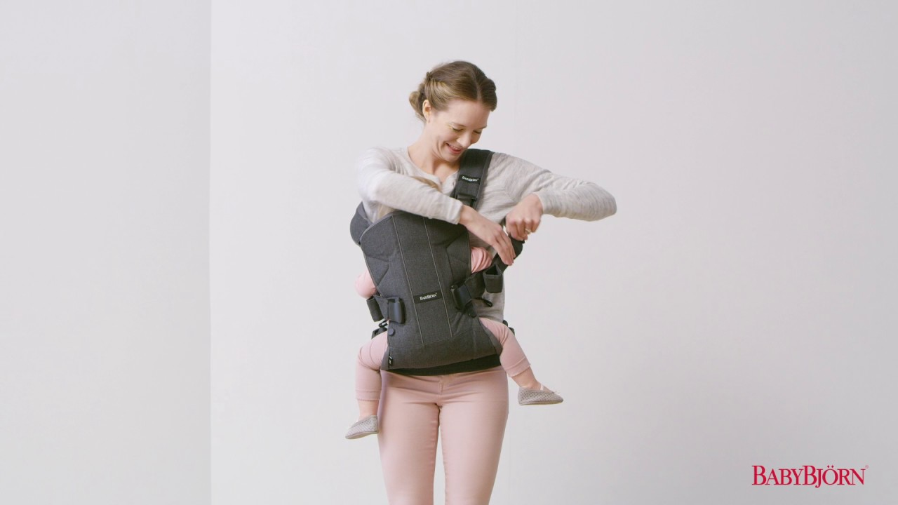 68b772ceb56 How to place your child on your back in BABYBJÖRN Baby Carrier One –  tutorial